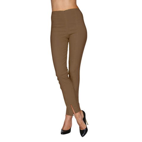 Mesmerize Pants with Front Ankle Slits and Front Zipper in Mocha - MA21-MOC