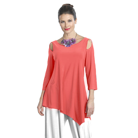 IC Collection Solid Open-Shoulder Tunic in Coral - 6615T-COR