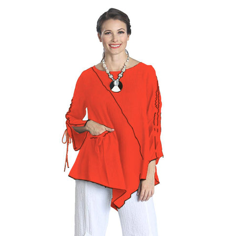 IC Collection  Tunic w/ Piping Trim in Coral/Black - 1158T-COR - Size S Only
