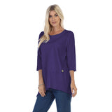 Focus Ribbed Pocket Tunic Top in Blackberry - CS-303-BKB - Size M Only