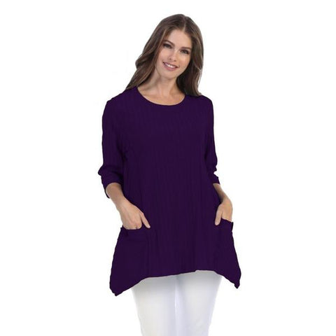 Focus Fashion Ribbed Tunic Top in Blackberry - CS-330-BB - Size S Only