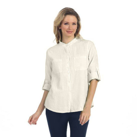 Focus Fashions Roll-up Sleeve Shirt in White CS-117WHT