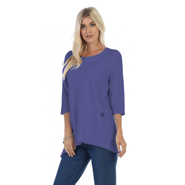 Focus Fashion Ribbed Pocket Tunic Top in Violet - CS-303-VIO