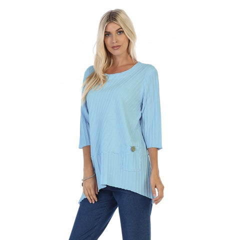 Focus Ribbed Pocket Tunic in Light Blue - CS-303-LB - Size S Only