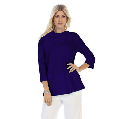 Focus Fashion Rib Textured Cowl Neck Tunic in Navy Blue - CS-369-NVY - Size M Only