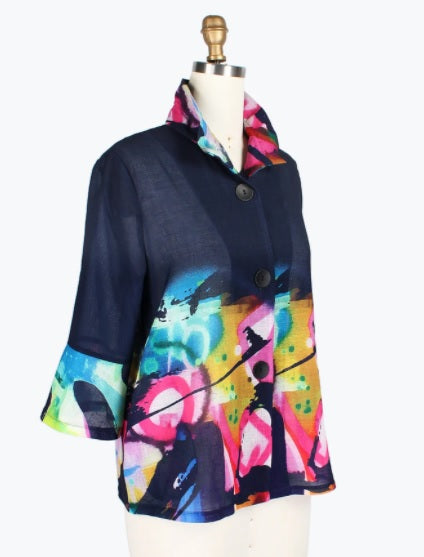 Damee Graffiti-Art Print Jacket in Navy - 4696-NVY