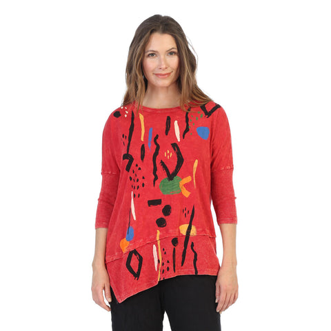 "Jess & Jane ""Surprise"" Mineral Washed Tunic Top in Scarlett/Multi - M41-1411 - Size 2X Only"