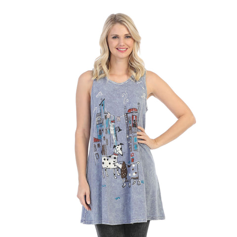"Jess & Jane ""City Pups"" Dog Lovers Mineral Washed Sleeveless Tunic - M32-1436"