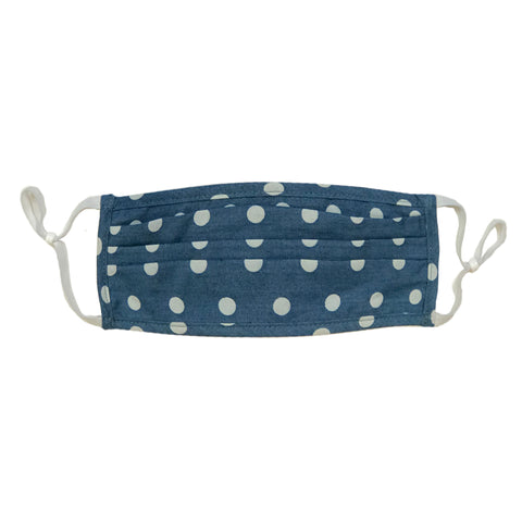 Style-Rite Adjustable Polka Dot Print Mask in Light Denim Blue & White - M-DOT-LTBLU