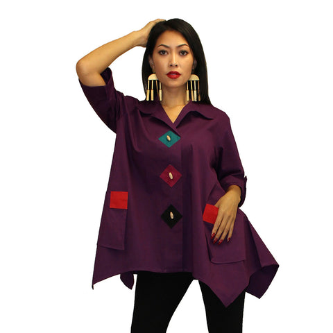 Dilemma Fashions Big Shirt with Contrast Trim in Eggplant/Multi - PS-1062-EGP