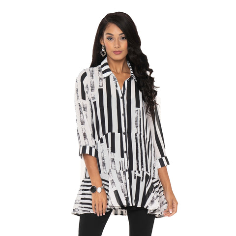 Lior Striped Button Front Cruise Collection Blouse in Black & White - Donna-103