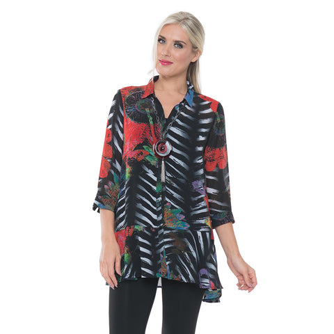 Lior Floral Stripe Button Front Blouse in Black Multi - Donna-38 - Sizes S & L Only