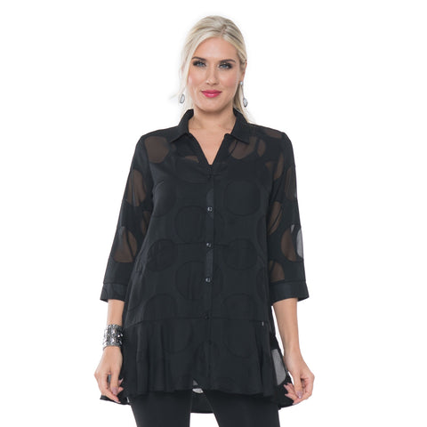 Lior Semi Sheer Dot Button Front Blouse In Black Donna 75 Blk