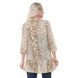 Lior Semi Sheer Button Front Blouse in Gold - Donna-GLD