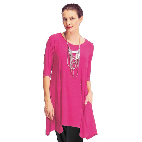 IC Collection Crisscross-Back Long Tunic in Fuchsia - 1575T-FCH