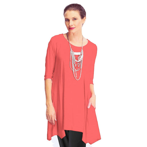 IC Collection Long Tunic with Pockets in Coral - 1575T-CRL