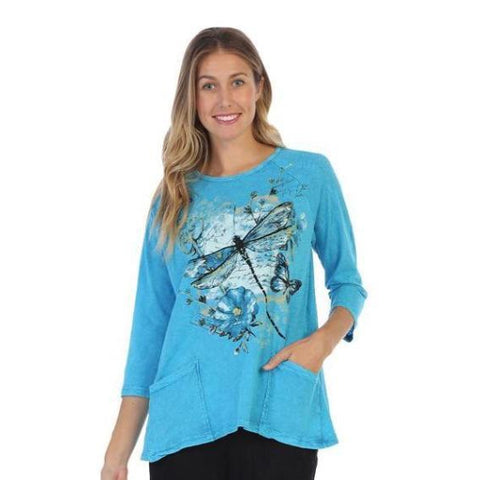 "Jess & Jane ""Fetching""  Flowers & Dragionfly Print Mineral Washed Top in Azure - M12-1310"