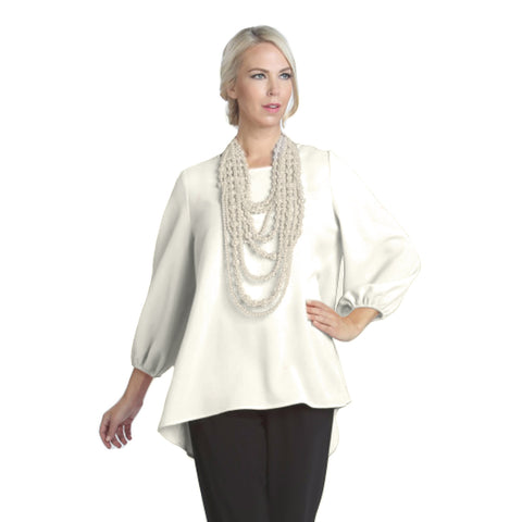 IC Collection Scoop-Back Cascading Bow Blouse in Ivory - 6761B-IVR - Sizes S & XL Only