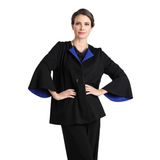 IC Collection Bell Sleeve Jacket in Black/Royal - 2026J-BLK - Size S  ONLY