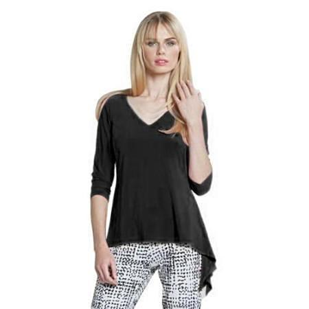 Clara Sunwoo Solid V-Neck Waterfall Top  T822-BLK - Side 1X Only