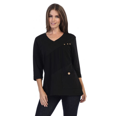 Focus Fashion French Terry V-Neck Tunic Top in Black - FT-4014-BLK