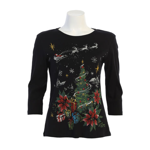"Jess & Jane ""Deer Santa"" Christmas Top in Multi - 14-1437BK"