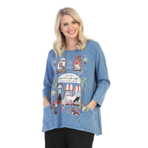"Jess & Jane ""Cat Cafe"" Mineral Washed Tunic Top - M12-1465"