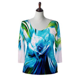 "Valentina Signa ""Paradise"" Floral Print V-Neck Top in Blue- SH-10735-1"