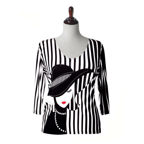 "Valentina Signa ""Pearls"" V-Neck Stripe Print Top in Black & White -12051"