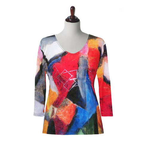 "Valentina Signa ""Abstract Art"" Top in Multi - 17893-1-MT"