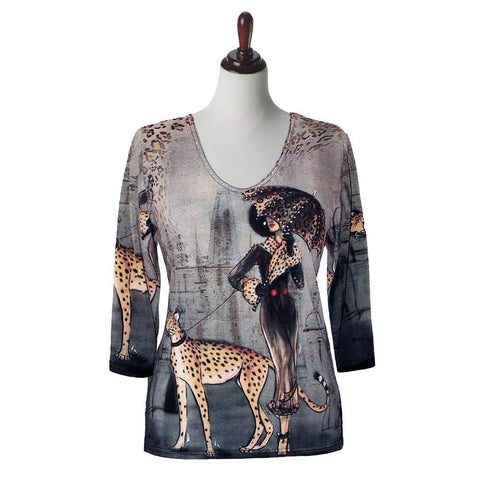 "Valentina Signa ""Cat Walk"" Print V-Neck Top in Multi - 5859-7"