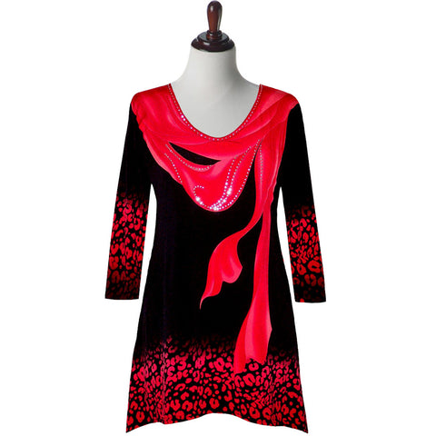 "Valentina Signa ""Breeze"" Red Scarf Print Tunic - T16453-RD"