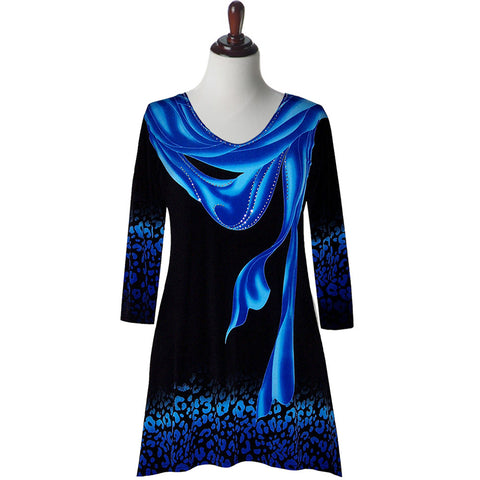 "Valentina Signa ""Elegance"" V-Neck Tunic in Blue - 16453-2-BL"