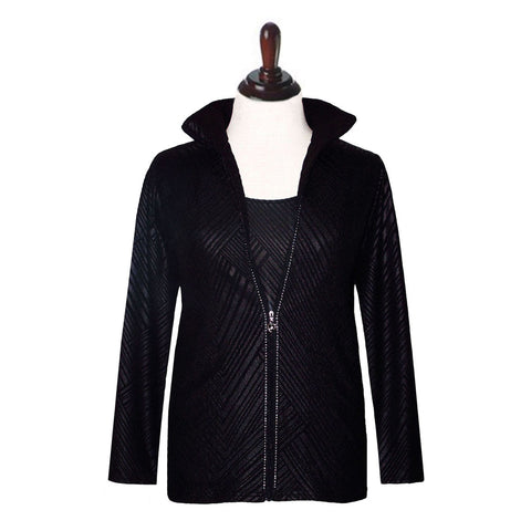 Valentina Signa Jacket and Tank Top Set in Black - JS-BLK