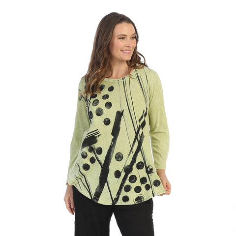 "Jess & Jane ""Bimba"" Abstract Print Mineral Washed Tunic Top - M28-1501"