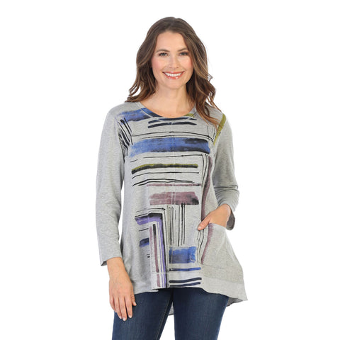 "Jess & Jane ""Linear"" Print High-Low Tunic in Heather/Multi - BT1-1423 - Sizes S & L"