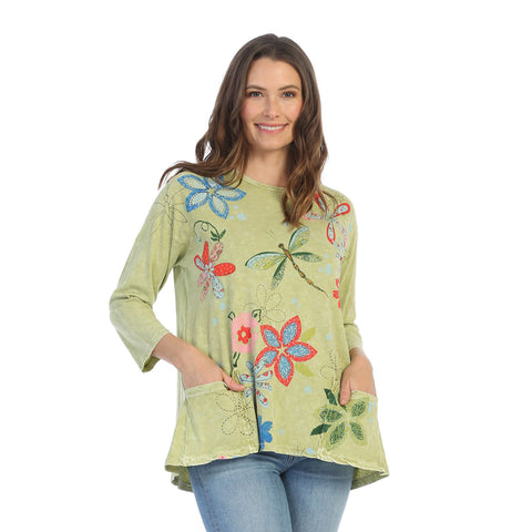 "Jess & Jane ""Good Times"" Abstract Mineral Washed Tunic Top in Citrus - M12-1228"