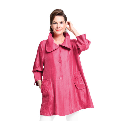 Damee NYC Shimmery Signature Swing Jacket in Fuchsia  - 200-FS