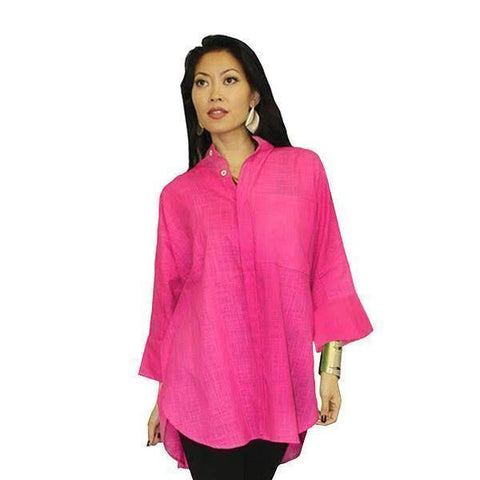 Dilemma Solid Cotton Oversize Shirt in Fuchsia - GB-5026-FUS
