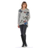 "Jess & Jane ""Tree Story"" Floral Print Cowl Neck Tunic in Grey Multi - GB2-1265"
