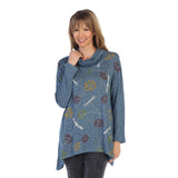 "Jess & Jane ""Swing By"" Dragonfly Print Cowl Neck Tunic in Blue Multi - GB2-1274- Size1X Only"