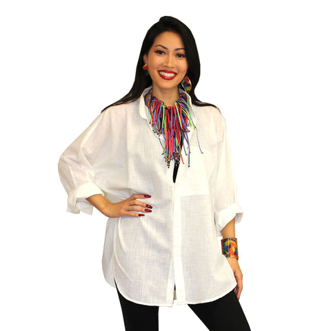 Dilemma Oversized Solid Big Shirt in White - GB-5026-WHT