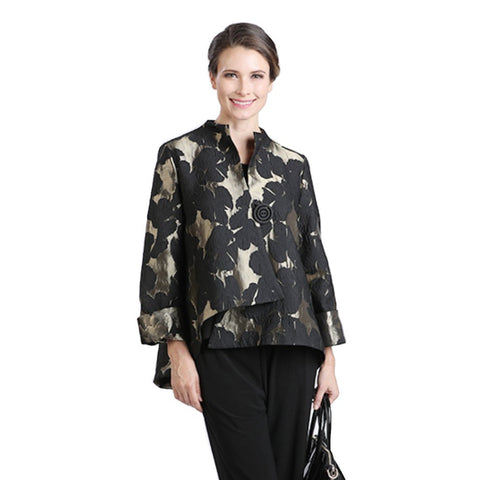 IC Collection Floral Brocade Asymmetric Jacket in Gold/Black - 2093J-GLD - Size M Only
