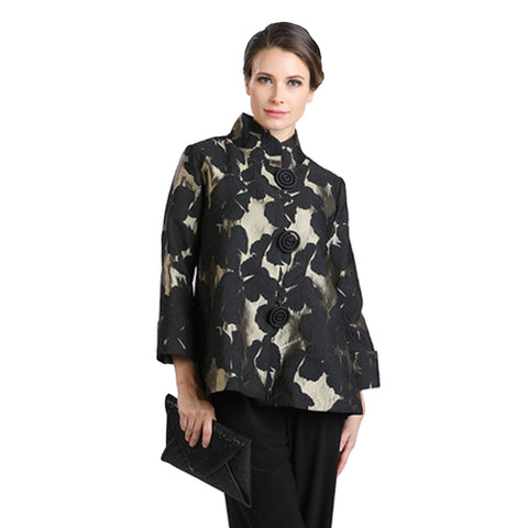 IC Collection Brocade Button Front Jacket in Gold/Black - 2005J-GLD