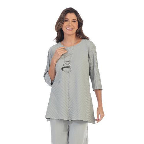Focus Fashion Rib Textured Tunic in Grey - CS-342-GRY - Size M & 1X Only