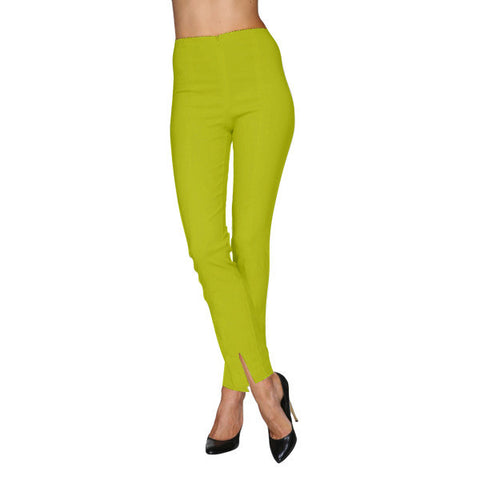 Mesmerize Pants with Front Ankle Slits and Front Zipper in Green Apple - MA21-GAP