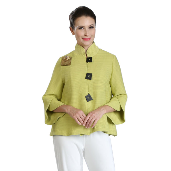 IC Collection Thin Ribbed Button Front Jacket in Lime - 3065J-LME