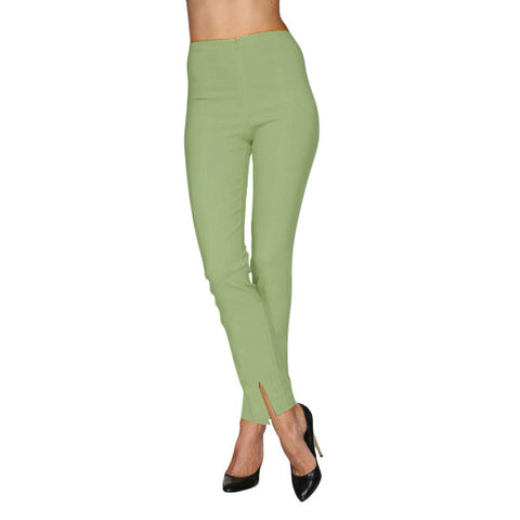 "Mesmerize ""Mariel 32"" Cotton Denim Pants w/Front Ankle Slits in Avocado - MA32 -AVOC"