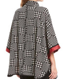 IC Collection Houndstooth Print Zip-Front Cape - 3860J