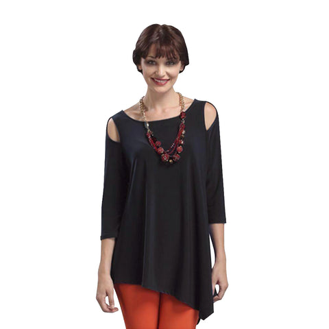 IC Collection Solid Cold Shoulder Asymmetric Tunic in Black - 6615-BLK